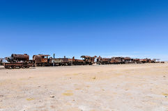 Train cemetery near Salar de Uyuni, Bolivia Royalty Free Stock Photos
