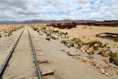 Train cemetery in Uyuni. Stock Photos