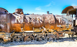 Train Cemetery, Uyuni, Bolivia. Detail of a rusted locomotive in the middle of the bolivian desert Stock Image
