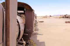Train Cemetery, in Uyuni, Bolivia near the salt flats stock photography