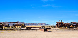 Train Cemetery, Uyuni, Bolivia. Rusted trains in the middle of Bolivian desert Royalty Free Stock Photo