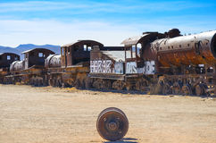 The Train Cemetery, Uyuni, Bolivia. Rusted trains in the middle of Bolivian Desert Stock Photos