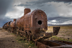 Train cemetery, Uyuni, Bolivia Royalty Free Stock Photo