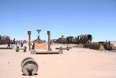 Train Cemetery in Uyuni desert, Bolivia stock photo