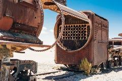 Train cemetery in Uyuni desert in Bolivia stock image