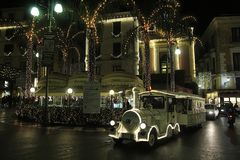 Sorrento xmas train. A train in the center of sorrento in christmas time Royalty Free Stock Photos