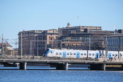 Train in a center of Stockholm Royalty Free Stock Images