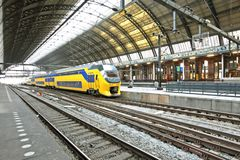 Train in Central Station in Amsterdam Netherlands. Train waiting in Central Station in Amsterdam the Netherlands Stock Photo