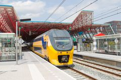 Train at the central station of a Dutch city Royalty Free Stock Photos
