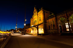 Train Central station in Groningen at night Royalty Free Stock Photos
