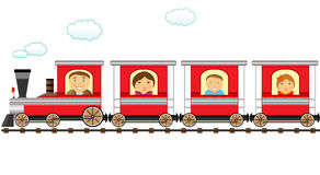 Train and cheerful catroon family. Cute red train and cheerful cartoon family Royalty Free Stock Photography