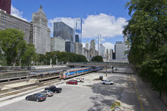 Train into Chicago Loop. May be used for a transportation ad or travel ad Stock Photos