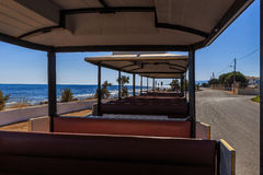 Tourist train in holiday village. Inside of train for children at Creta , nera Chersonisos royalty free stock photography