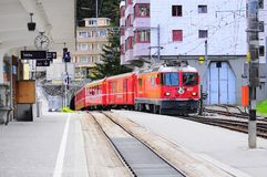 Train from Chur arrives to Arosa station Royalty Free Stock Images