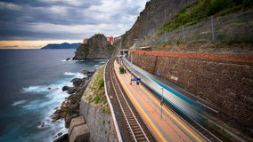 The train of cinque terre. Liguria , italy Royalty Free Stock Images