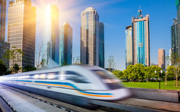 Train through city Stock Image