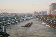 Train in cityscape Stock Photo