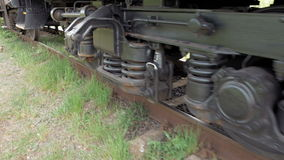 Train coach carriage wheels on rails runway stock video footage