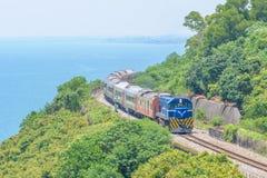 Train at the coastline Stock Image