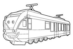 Train - coloring page for the children Royalty Free Stock Images