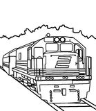 Train coloring page. Hand drawn big train coloring page for kids Royalty Free Stock Photo