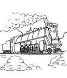 Train coloring page. Hand drawn train coloring page for kids Royalty Free Stock Photos