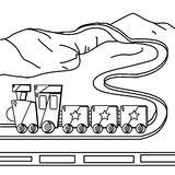 Train coloring page royalty free illustration