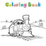 Train coloring page vector Royalty Free Stock Photo