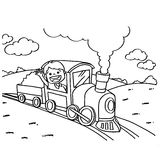 Train Coloring Pages vector Royalty Free Stock Photo
