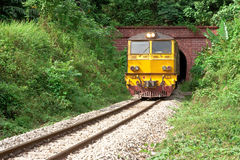 Train come from tunnel Royalty Free Stock Photography