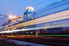 Train. Comercial biulding, city night, office stock images