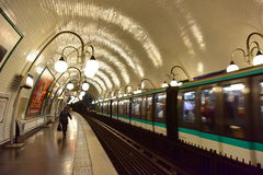 Train coming into Montrouge station of the Paris Metro Royalty Free Stock Photo