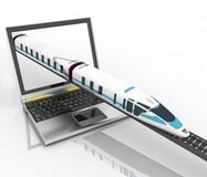 Train coming out of a laptop Stock Photos