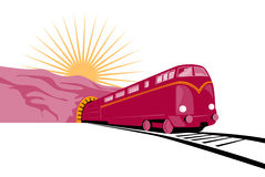 Train coming out of tunnel Royalty Free Stock Photography