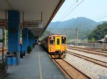 Train coming the Ruifang station, Taiwan Stock Images