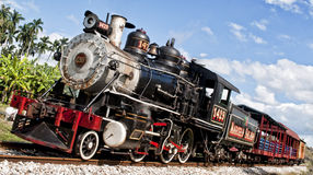A Train is Coming. A steam locomotive train in the country side of Cuba. Photo taken Jan. 2014 Stock Photo