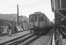 Train coming to Ruifang station, Taiwan Royalty Free Stock Image