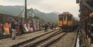 The train coming to Ruifang station, Taiwan Royalty Free Stock Photography
