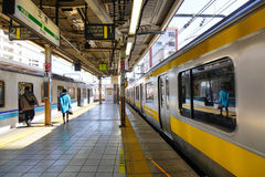 The train coming to the station in Jimbocho, Tokyo, Japan Royalty Free Stock Photos