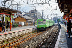 Train coming to station in Kyoto Royalty Free Stock Photo