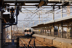 The train coming to the station in Maibara, Japan Royalty Free Stock Image