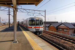 The train coming to the station in Nagoya, Japan Royalty Free Stock Photo