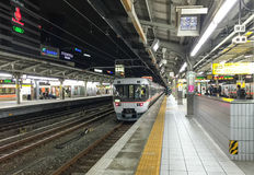 The train coming to station in Takayama, Japan Royalty Free Stock Photo