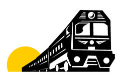 Train coming up. Vector art on land transportation Stock Photos