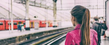 Free Train Commuter Woman Going To Work Waiting For Delayed Tramway At Station Early Morning Panoramic Banner Background Stock Photos - 175891563