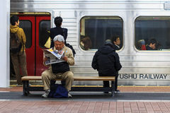 Train commuters in Fukuoka Stock Photography