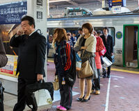 Train commuters in Fukuoka Stock Images
