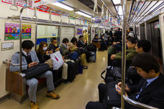 Train commuters in Fukuoka Stock Photo