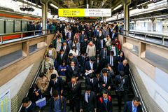 Train Commuters in rush hour stock image