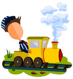 Train conductor. Character dressed like a train engineer riding a cartoon locomotive Royalty Free Stock Photography
